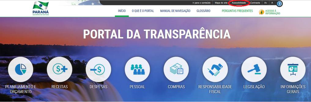 Imagem - Portal da Transparência do Paraná - Cabeçalho: função de Acessibilidade.