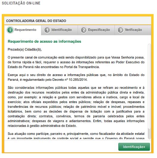 Imagem - Acesso a Informação - Formulário de requerimento