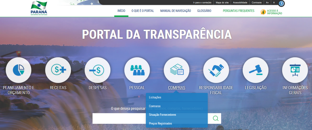 Imagem do Portal da Transparência, assunto Compras, com os seguintes temas: Licitações, Contratos, Situação Fornecedores e Preços Registrados.