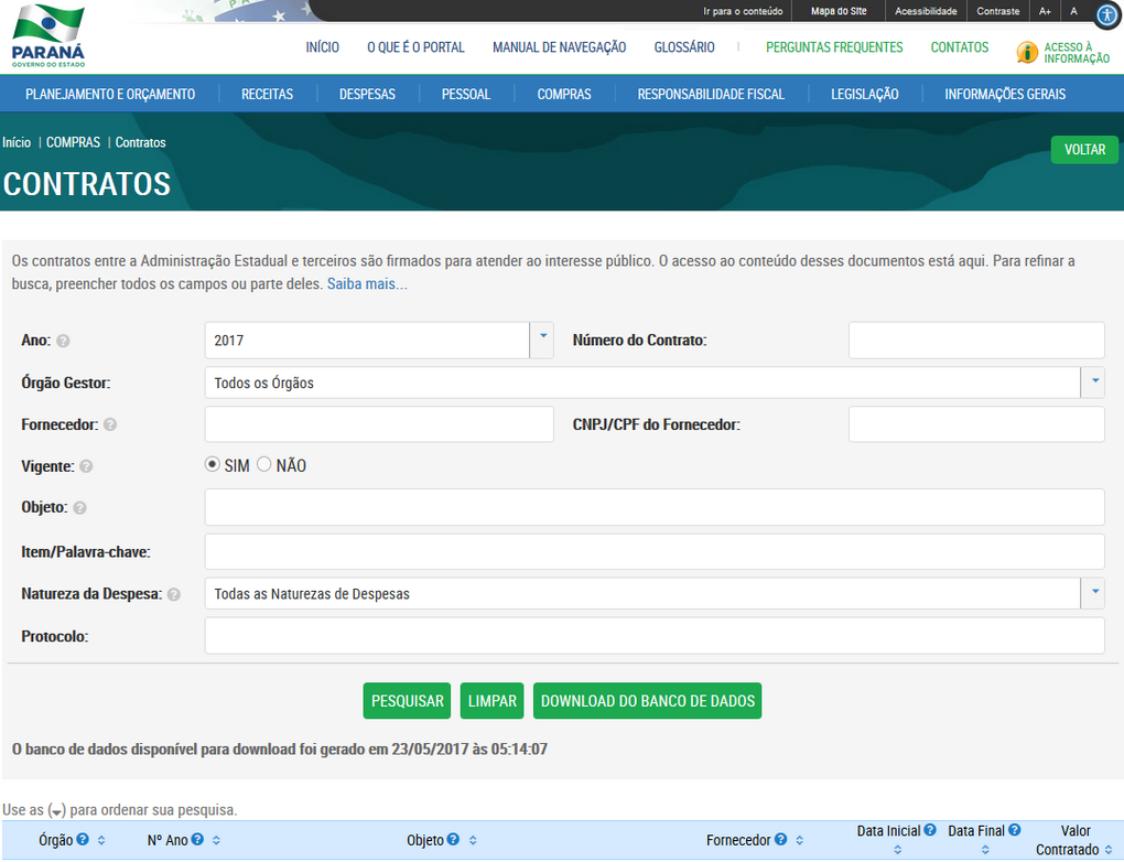 Imagem Portal da Transparência, assunto Compras, submenu Contratos