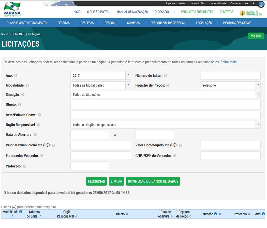 Imagens do Portal da Transparência, assunto Compras, submenu Licitações