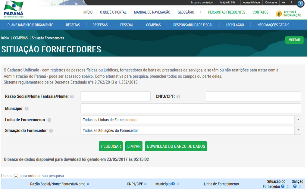 Imagens Portal da Transparência, assunto Compras, submenu Situação de Fornecedores