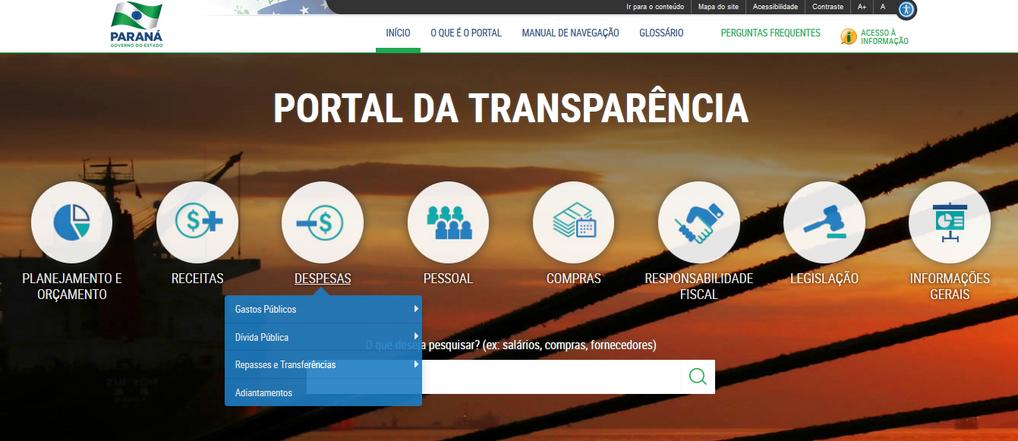 Imagens do Portal da Transparência do Paraná, tema Despesas