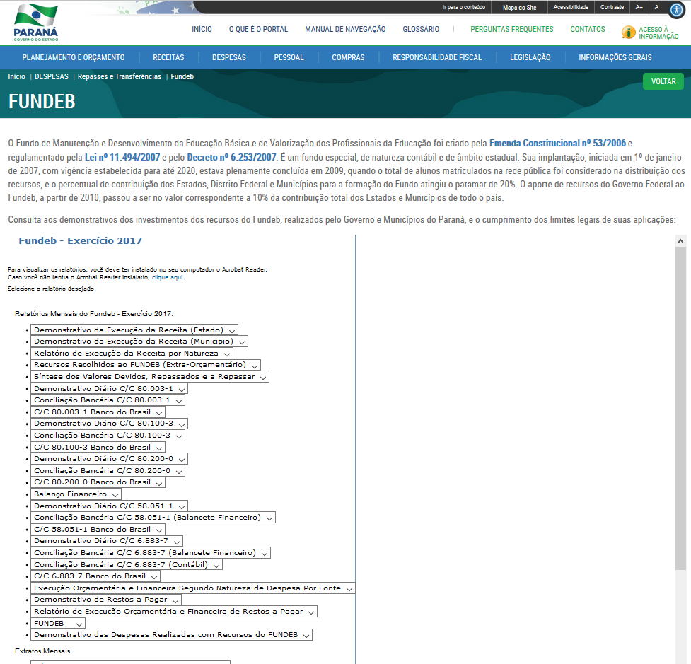 Imagens do Portal da Transparência do Paraná, assunto Despesas, tema Repasses e Transferências, subtema FUNDEB