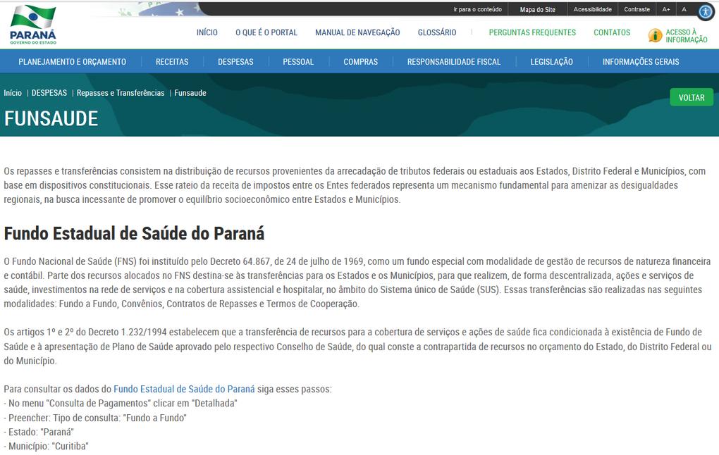 Imagens do Portal da Transparência do Paraná, assunto Despesas, tema Repasses e Transferências, subtema FUNSAUDE