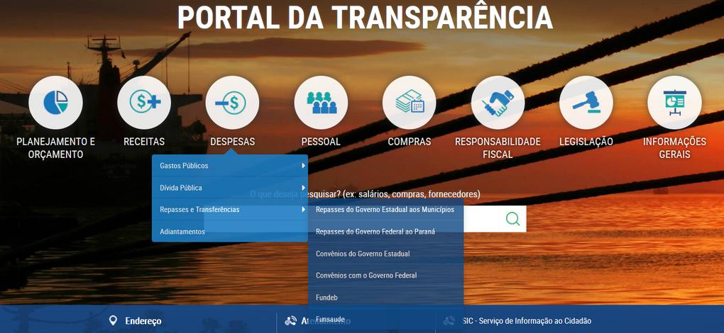Imagens do Portal da Transparência, assunto Despesas, tema Repasses e Transferências, opções dos subtemas