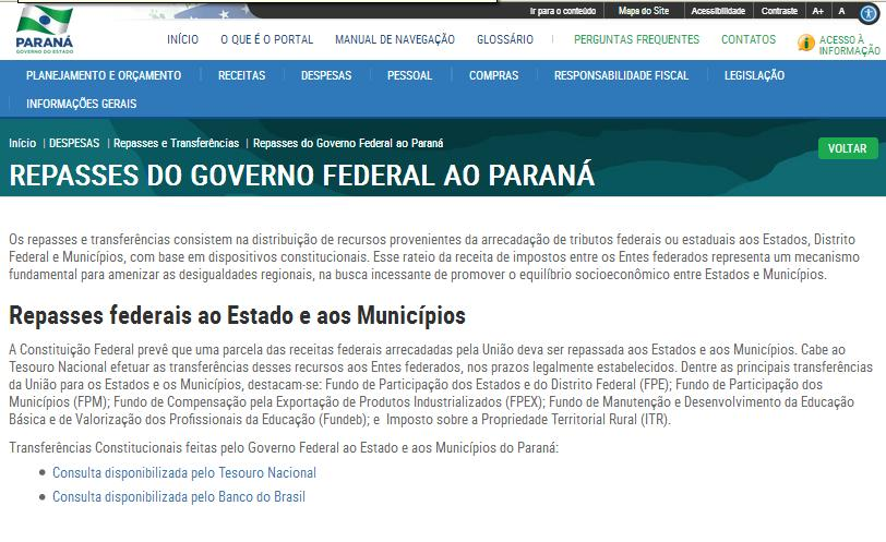 Repasses e Transferencias Governo Federal