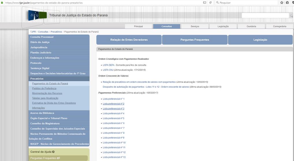 Imagens do Portal da Transparencia do Parana, assunto Despesas, menu da Divida Pública, submenu Precatórios.