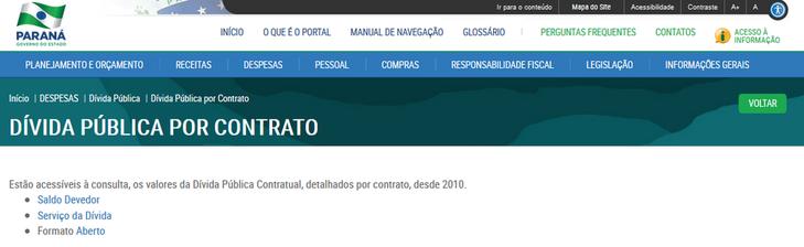 Imagens do Portal da Transparencia do Parana, assunto Despesas, menu da Divida Pública, submenu Divida Pública por Contrato.
