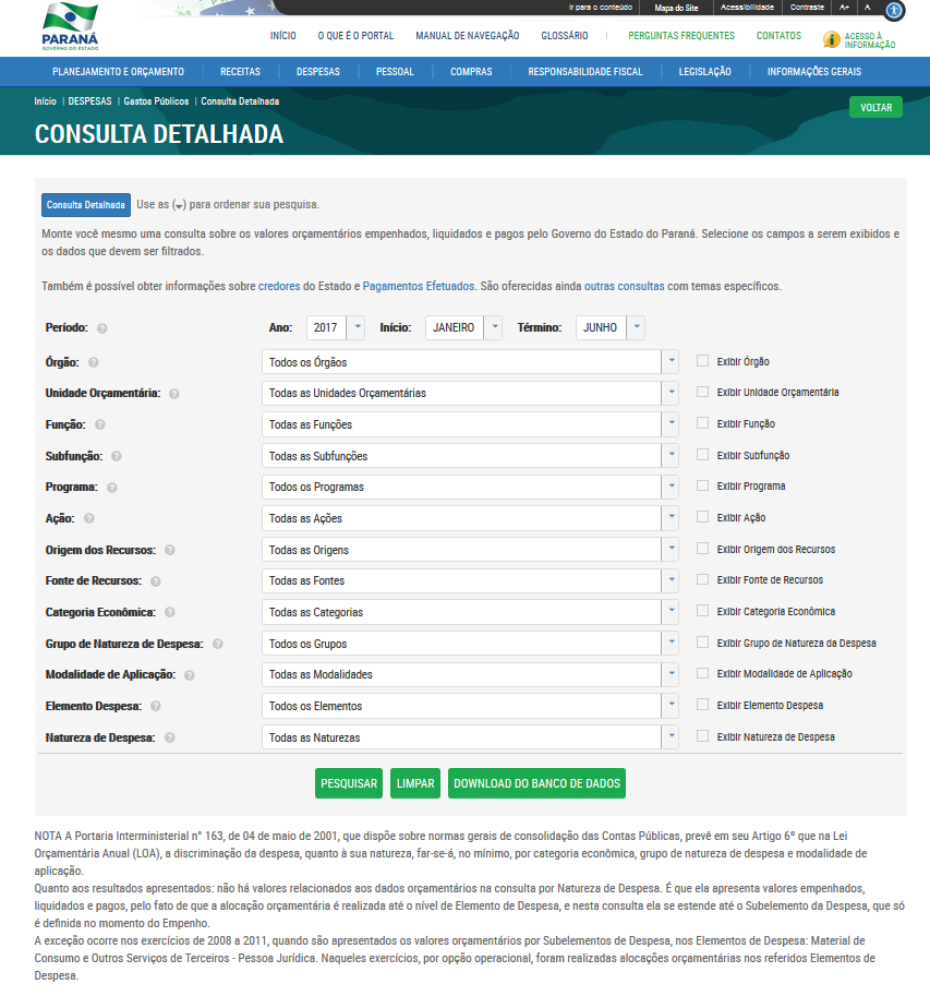 Imagens do Portal da Transparencia do Parana, assunto Despesas, opção do menu Gastos Públicos, opção do submenu Consulta Detalhada