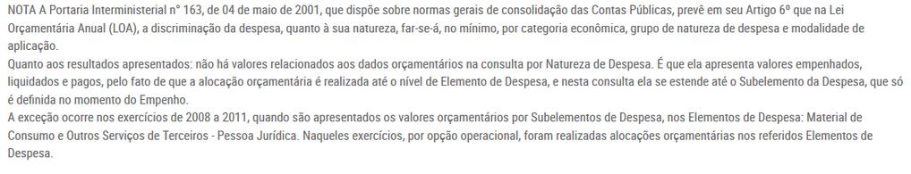 Imagens do Portal da Transparencia do Parana, assunto Despesas, opção do menu Gastos Públicos, opção do submenu Consulta Detalhada, nota de rodapés
