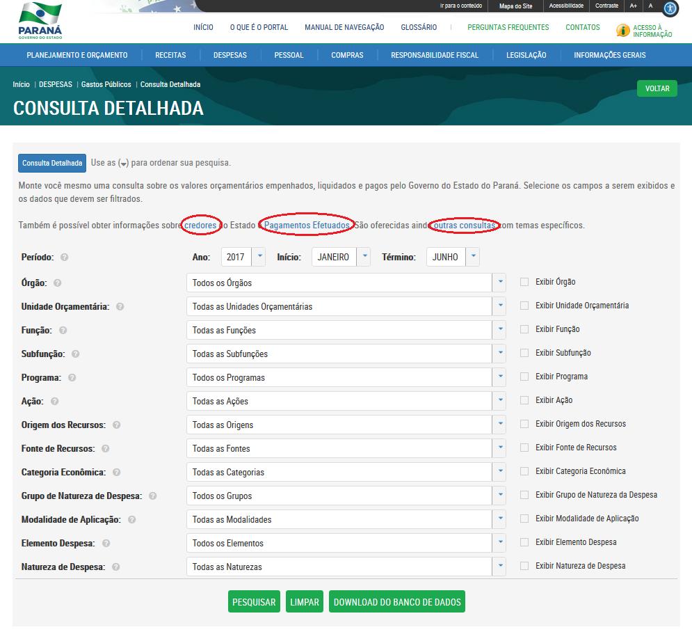 Imagens do Portal da Transparencia do Parana, assunto Despesas, opção do menu Gastos Públicos, opção do submenu Consulta Detalhada, outras opções de consulta..