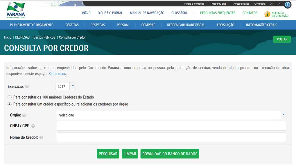 Imagens do Portal da Transparencia do Parana, assunto Despesas, opção do menu Gastos Públicos, opção do submenu Consulta por Credor.s