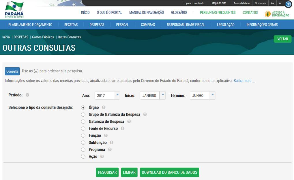 Imagens do Portal da Transparencia do Parana, assunto Despesas, opção do menu Gastos Públicos, opção do submenu Outras Consultas