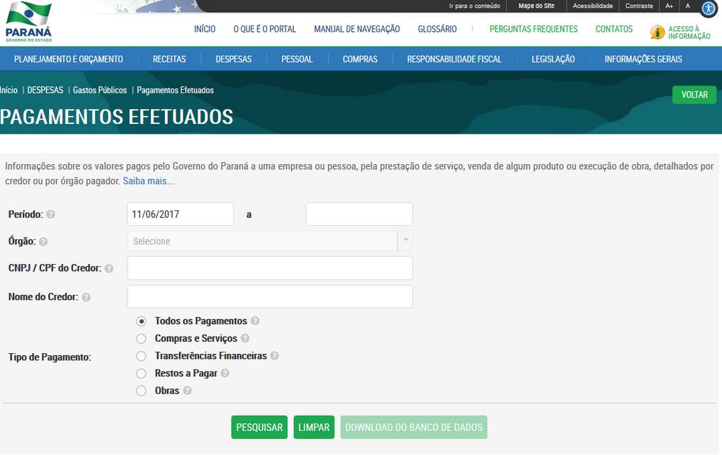 Imagens do Portal da Transparencia do Parana, assunto Despesas, opção do menu Gastos Públicos, opção do submenu Pagamentos Efetuados.