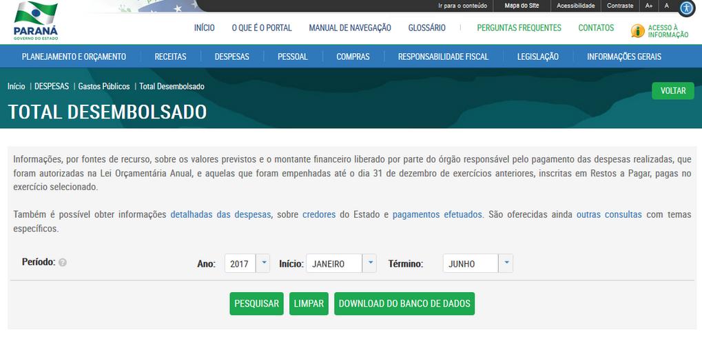 Imagens do Portal da Transparencia do Parana, assunto Despesas, opção do menu Gastos Públicos, opção do submenu Total Desembolsado