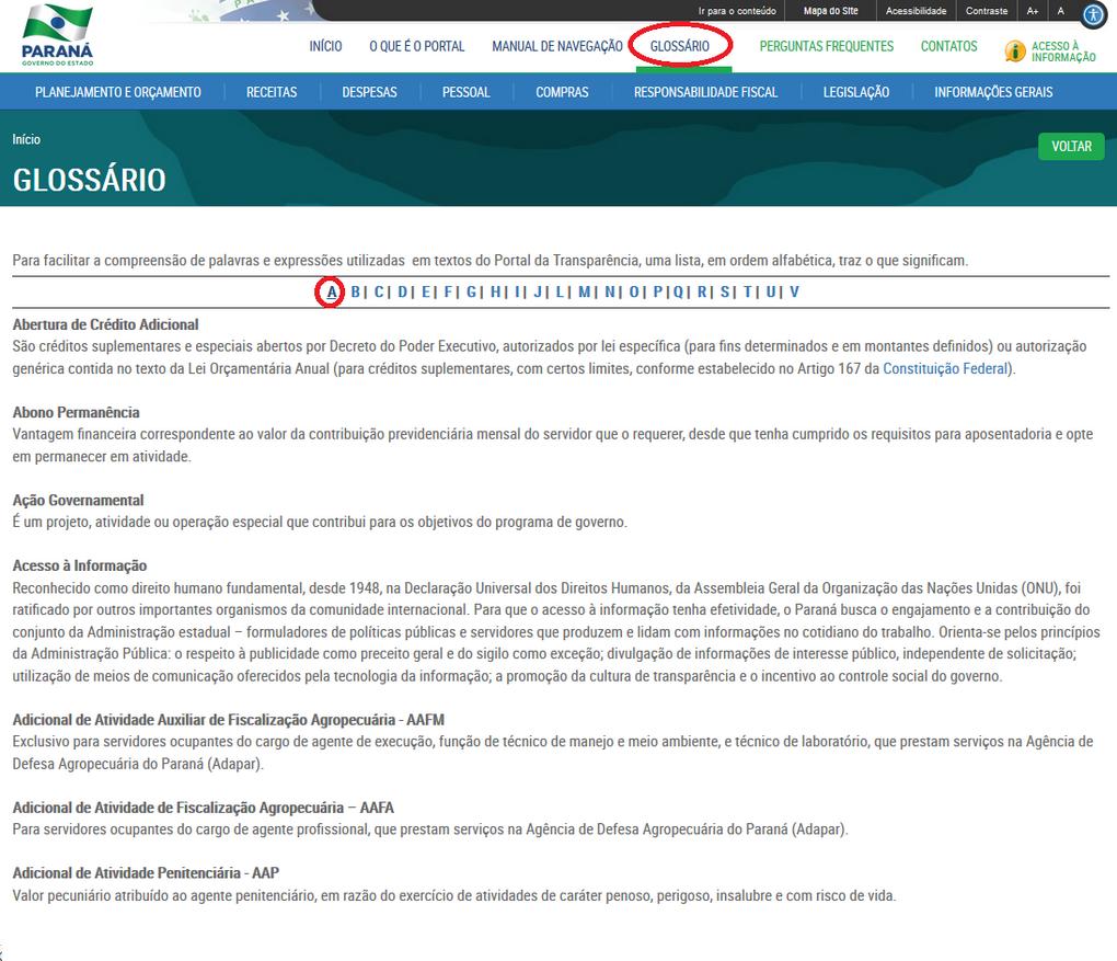 Imagem - Glossário do Portal da Transparência