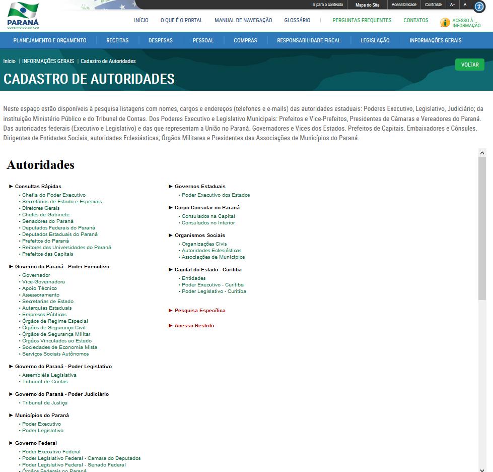 Imagem Portal da Transparência, assunto Informações Gerais, tema Cadastro de Autoridades
