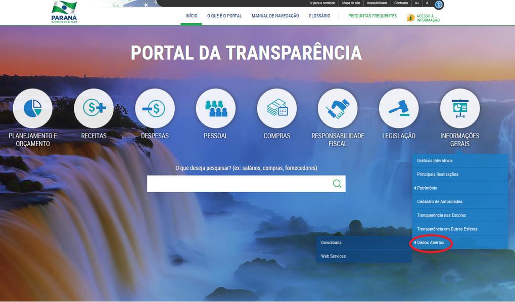 Imagem - Portal da Transparência - Informações Gerais, Dados Abertos