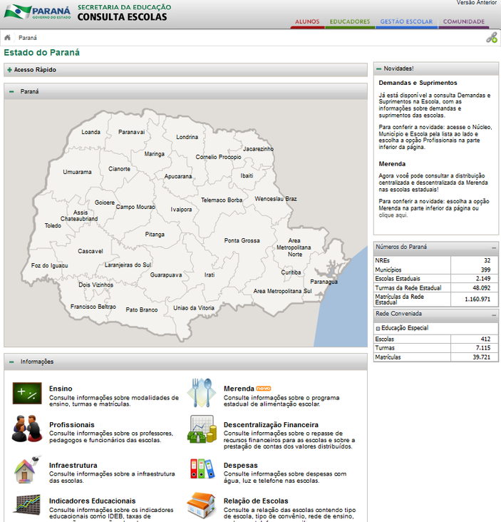 Imagens Portal da Transparência, assunto Informações Gerais, tema transparência nas Escolas