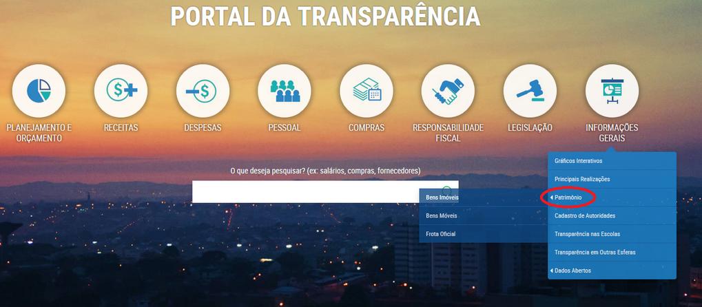 Imagem: Portal da Transparência, Assunto Informações Gerais, Tema Patrimônio, Subtemas Bens Móveis, Bens Imóveis e Frota Oficial