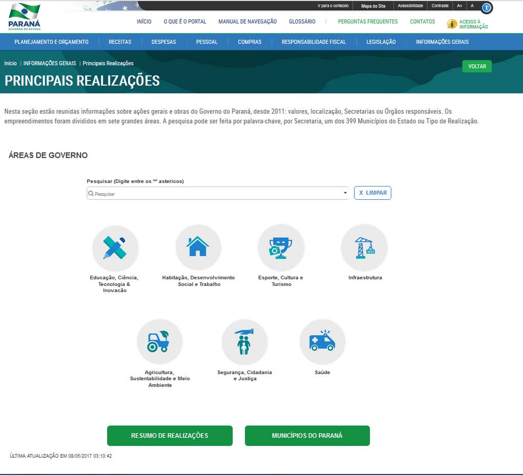 Imagens Portal da Transparencia, assunto Informações Gerais, tema Principais Realizações