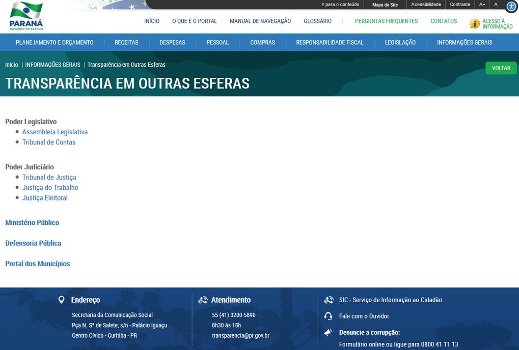 Imagens Portal da Transparência, assunto Informações Gerais, tema Transparência em Outras Esferas
