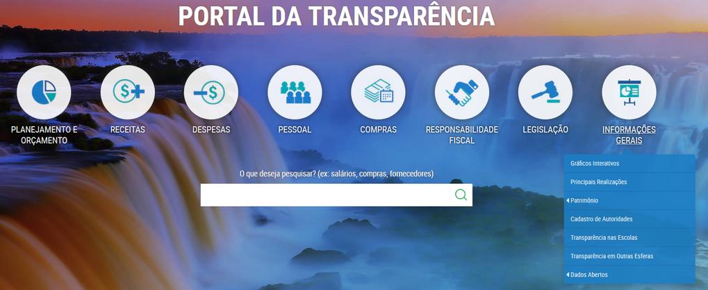 Imagem Portal da Transparência, assunto Informações Gerais.