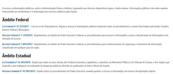 Imagens do Portal da Tansparência do Paraná, assunto Legislação, tema Legislações de acesso à Informação