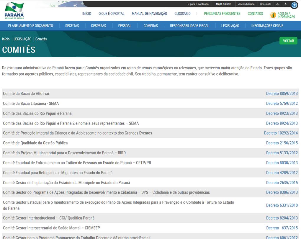 Imagens do Portal da Transparência do Estado do Paraná, assunto Legislação, tema Comitês.