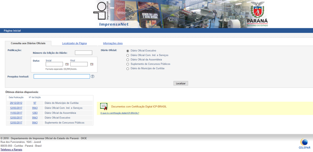 Imagens dos Portal da Transparência, assunto Legislação, tema Consulta Diários Oficiais