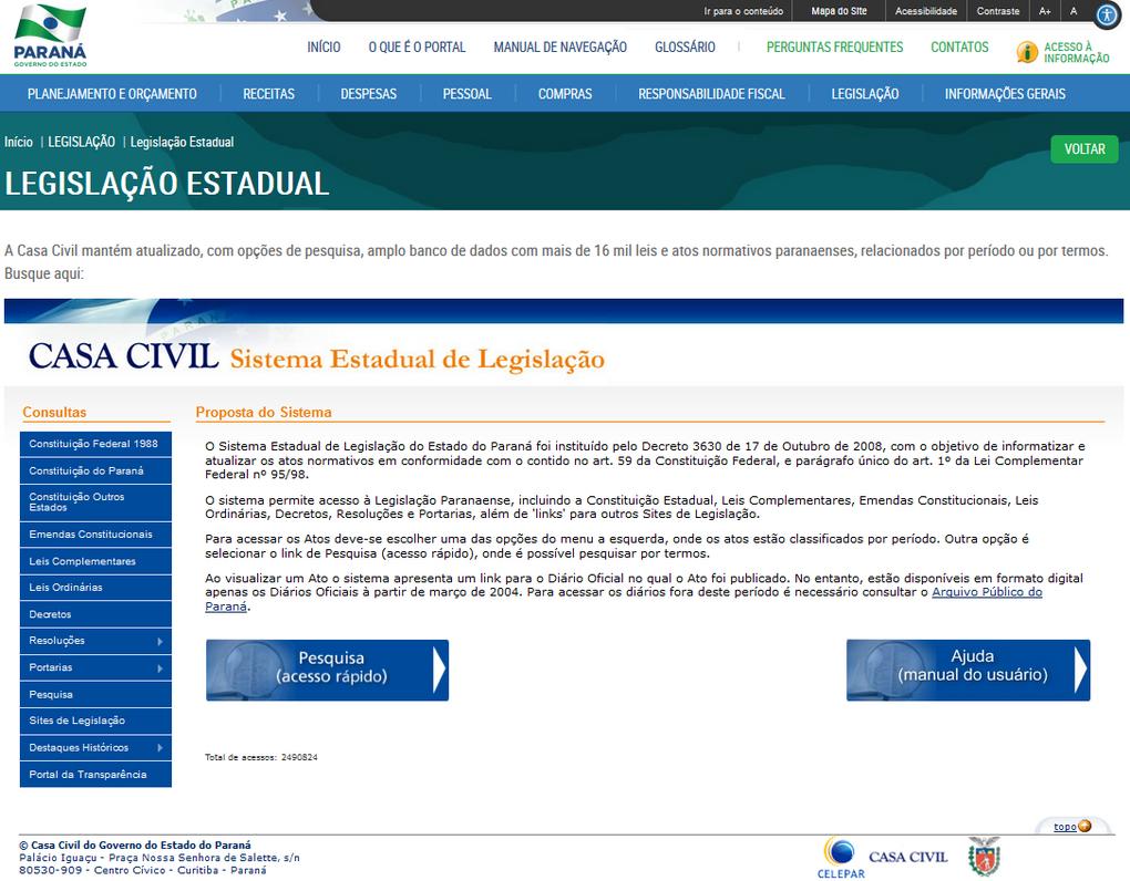 Imagens Portal da Transparencia, assunto Legislação, tema Legislação Estadual