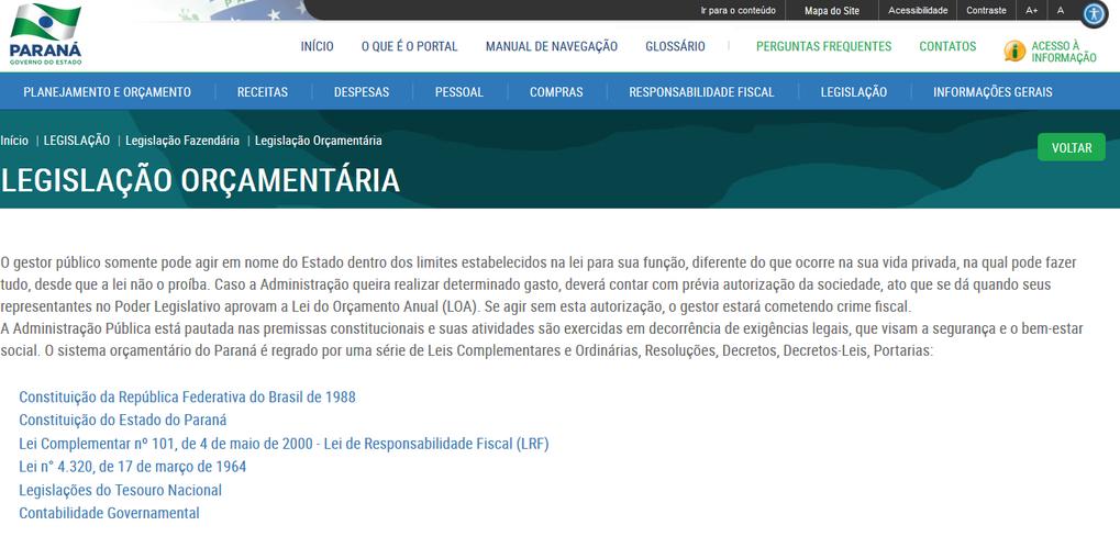Imagens do Portal da transparência, Assunto Legislação, tema Legislação Orçamentárioa