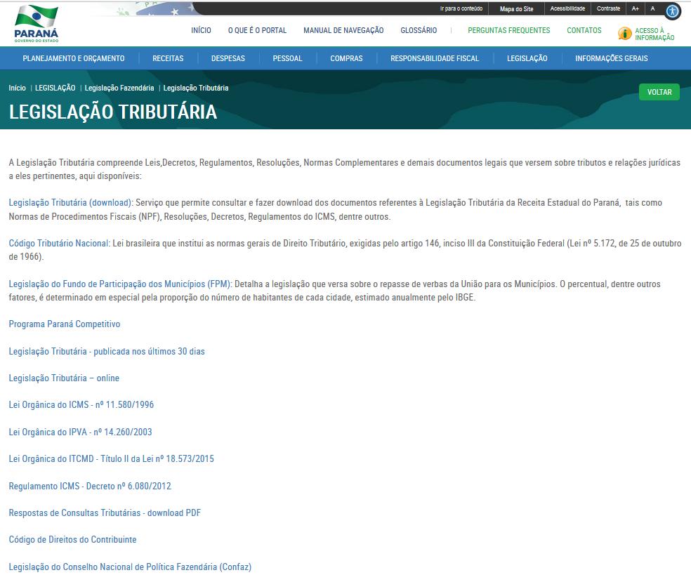 Imagens do Portal da Transparência, assunto Legislação, tema Legislação Tributária