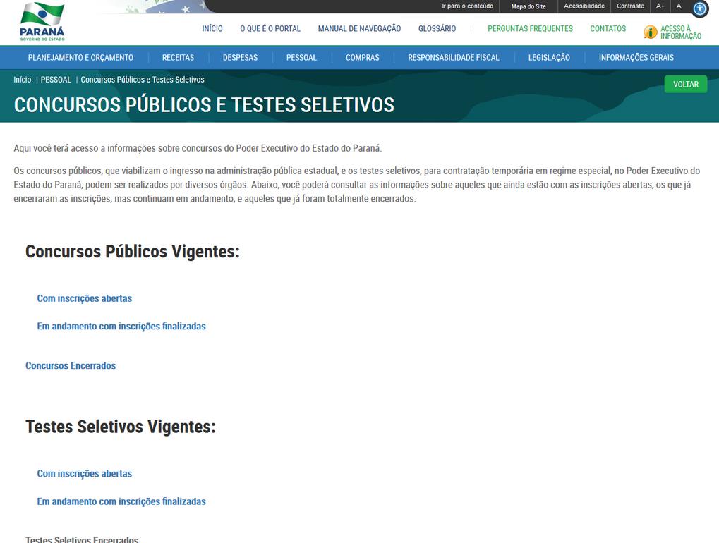Imagens do Portal da Transparência, assunto Pessoal, tema Concorsos Públicos