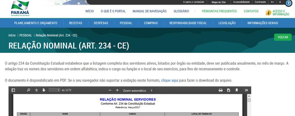 Imagens do Portal da Transparência, assunto Pessoal, submenu Relação Nominal