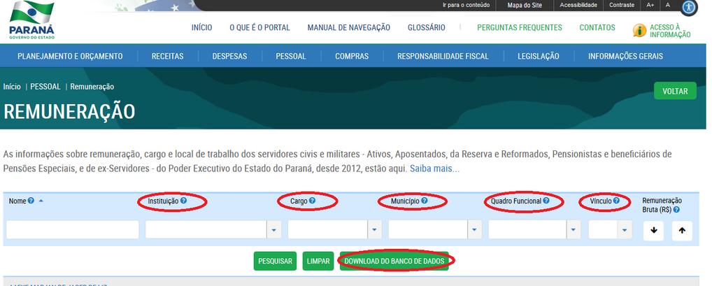 Imagens do Portal da Transparência, assunto Pessoal, tema Remuneração com suas opções de consultas.