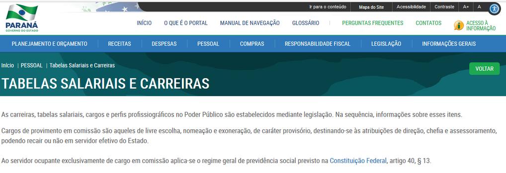 Imagens do Portal da Transparência, assunto Pessoal, tema Tabelas Salariais, subtema Cargo em Comissão