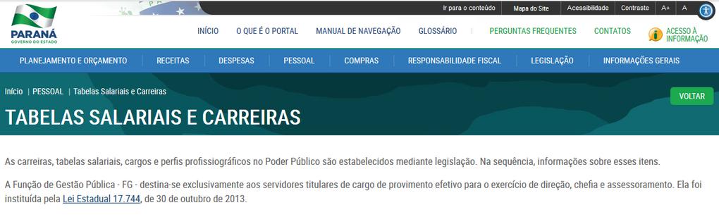 Imagens do Portal da Transparência, assunto Pessoal, tema Tabelas Salariais, subtema Função de Gestão Pública