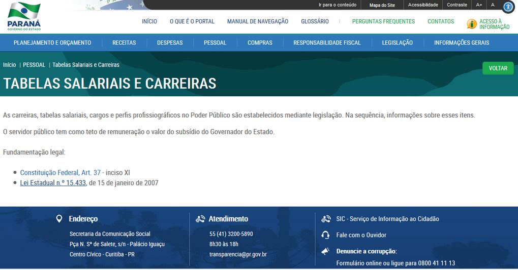 Imagens do Portal da Transparência, assunto Pessoal, tema Tabela Salarial, subtema Teto de Remuneração