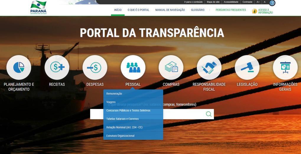 Imagens do Portal da Transparência, assunto Pessoa com seu menu de opções: Remuneração, Viagens, Concursos Públicos, Tabelas Salariais, Relação Nominal e Estrutura Organizacional
