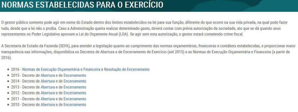 Normas Estabelecidas para o Exercício
