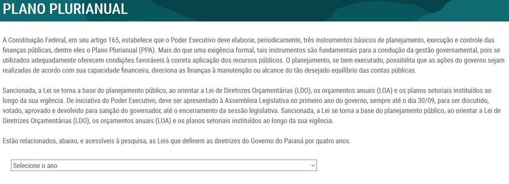 Imagem do Portal da Transparência do Paraná, Orçamento, Plano Plurianual