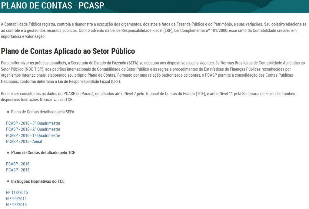 Plano de Contas - PCASP