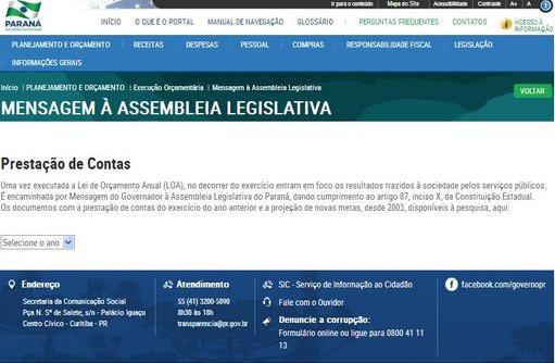 Mensagem Assebléia Legislativa do Estado do Paraná