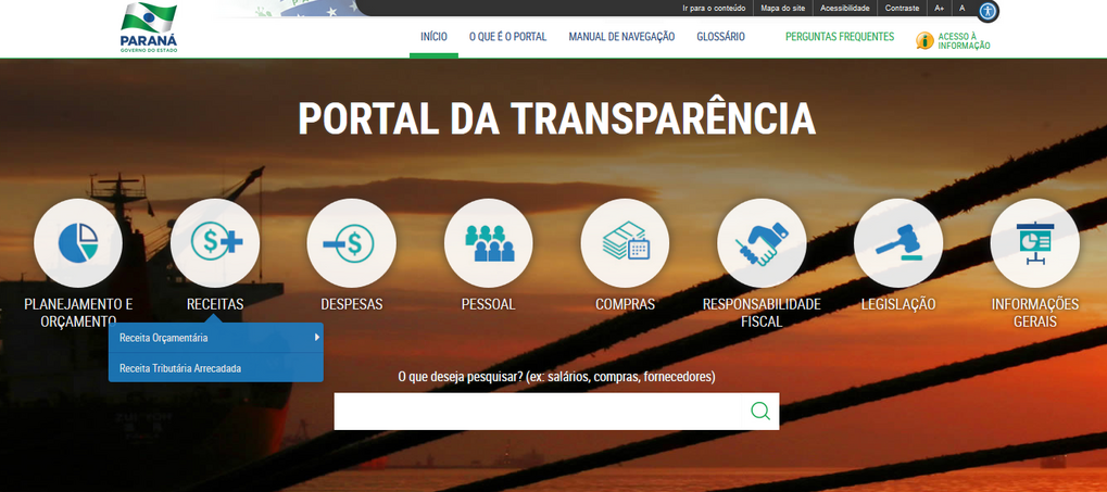 Imagens do Portal da Transparência do Paraná, assunto Receitas