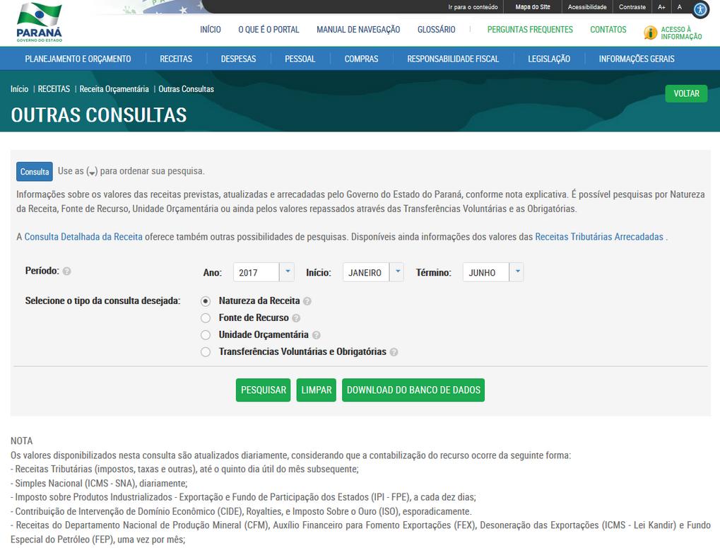 Manual de Navegação, Imagem do Portal da Transparência do Pr, assunto Receitas, tema Receitas Orçamentárias, subtema Outras Consultas.