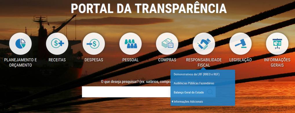 Imagem do Portal da Transparência, menu de opções do assunto Responsabilidade Fiscal
