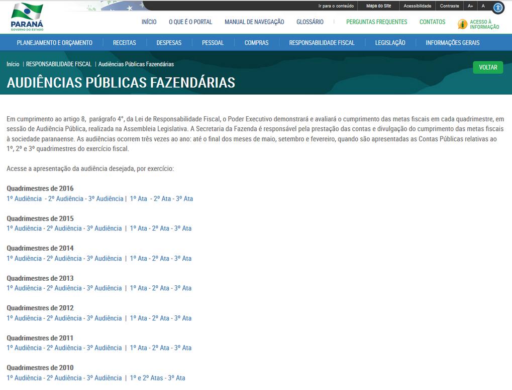 Imagens do Portal da Transparência, assunto Responsabilidade Fiscal, tema Audiências Públicas Fazendárias