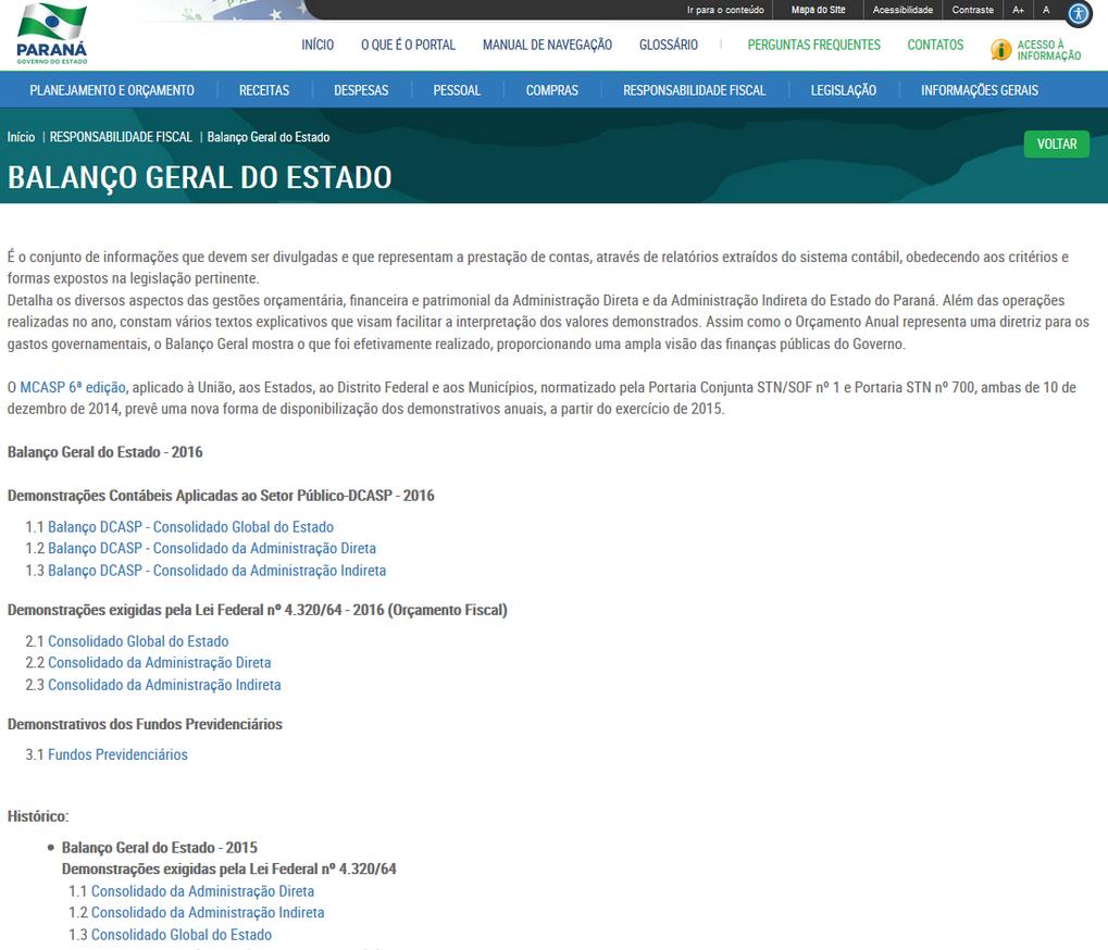 Imagem do Portal da Transparência, assunto Responsabilidade Fiscal, tema Balanço Geral do Estado.
